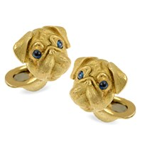 18k Gold Pug Cufflinks with Sapphire Eyes