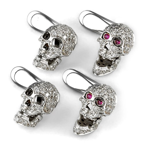 18k White Gold Skull Studs with Diamonds, Set of Four