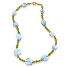 18k Yellow Gold Blue Topaz & Faceted Peridot Pebble Necklace