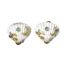Jeweled Scallop Shell Earrings, Clips Only
