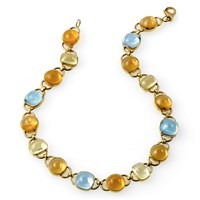 18k Gold Citrine, Blue Topaz, Lemon Citrine Necklace