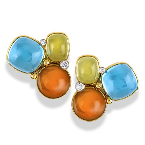 18k Gold Blue Topaz, Citrine, & Lemon Citrine Earrings