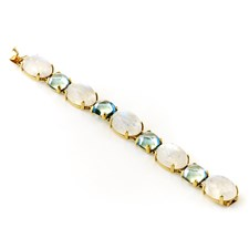 18k Yellow Gold Oval Moonstone & Blue Topaz Bracelet