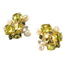 Peridot, Citrine, Tourmaline, & Diamond Cluster Earrings