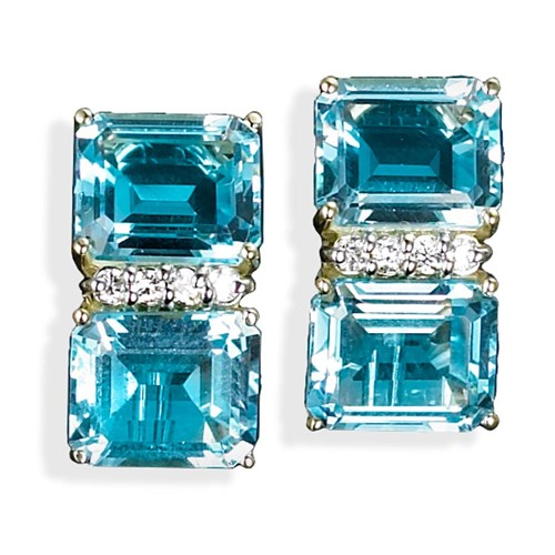 18k Gold Double Square Blue Topaz Earrings with Diamonds
