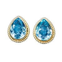 18k Gold Raindrop Earrings with Blue Topaz