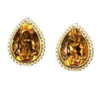 18k Gold Raindrop Earrings with Dark Citrine