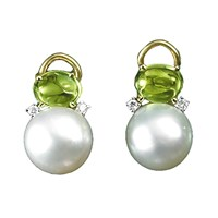 South Sea Pearl & Peridot Earrings