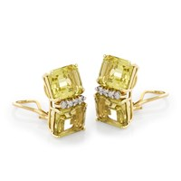 18k Gold Double Square Lemon Citrine Earrings with Diamonds