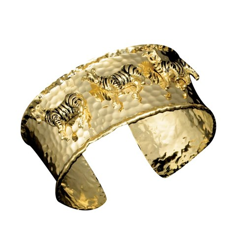 18k Yellow Gold Cuff Bracelet with Enamel Zebras