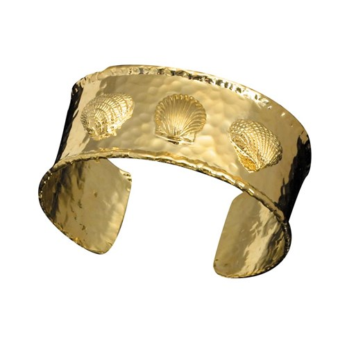 18k Yellow Gold Three Shell Cuff Bracelet