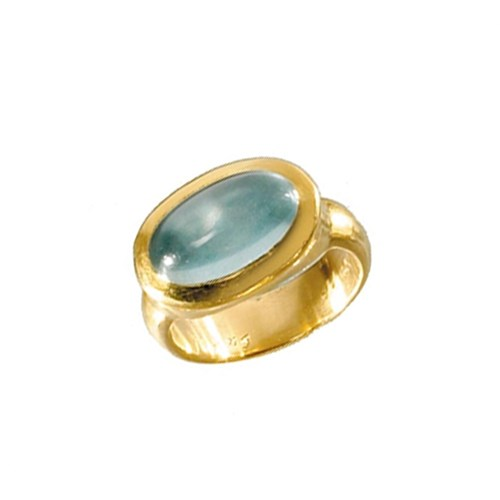 Hammered Ring Aquamarine Cab