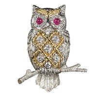 Criss-Cross Owl Pin Diamonds Ruby Eyes