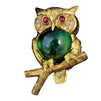 YG Owl Pin Green Tourmaline, Ruby Eyes