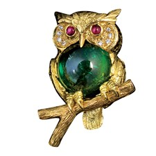 18k Yellow Gold Green Tourmaline Owl Pin