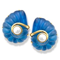 Navy Crystal Nautilus Earrings Pearls