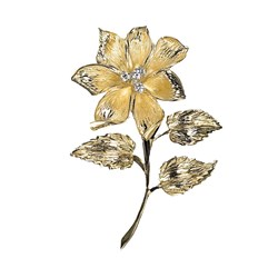 Flower Pin 18k Gold with Diamond Center