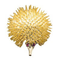 18k Gold Porcupine Pin Ruby Eyes