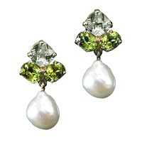 Green Amethyst Peridot Pearl Earrings