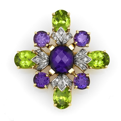 18k Gold Amethyst & Peridot Diamond Cross Pin / Pendant