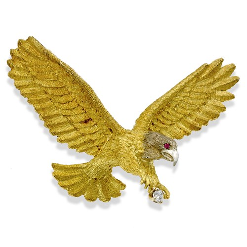 18k Gold Large Eagle Pin with Diamond