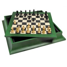Green Leather Chess Board Ebony Magnolia