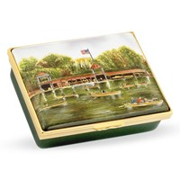 "Halcyon Days ""Autumn at Central Park Boat House"" Enamel Box"