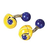 Yellow Shell & Lapis Bar Cufflinks