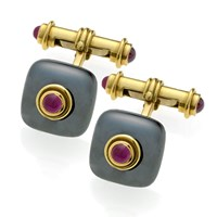 Square Hematite Cufflinks with Cabochon Rubies