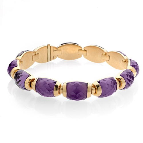 18k Gold Amethyst Bangle Bracelet
