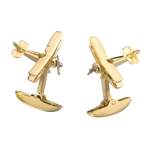 18K YG Airplane Cufflinks