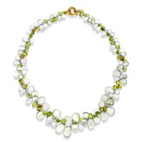 Green Amethyst, Peridot, & White Topaz Necklace with 18k Gold Clasp