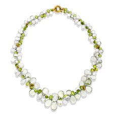 Green Amethyst, Peridot, & White Topaz Necklace