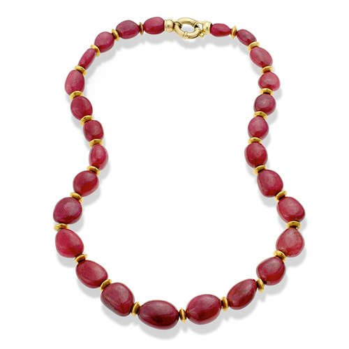 18k Gold Single Strand Ruby Bead Necklace