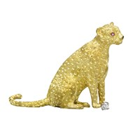 Gold Cheetah Pin Ruby Eyes & Diamond