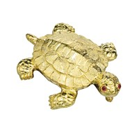 Large Flat Gold Turtle Pin Ruby Eyes