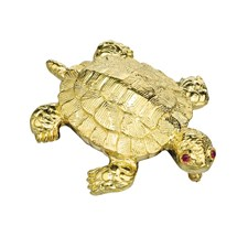 18k Yellow Gold Large Flat Turtle Pin