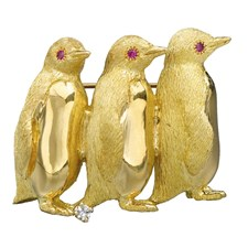 18K Gold Penguin Trio Pin