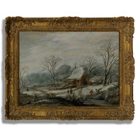 A Winter Landscape Oil Painting