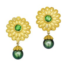 Flower Earring Green Tourmaline Pearl