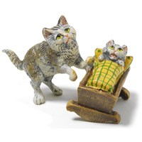 Austrian Bronze Cat with Kitten in Cradle
