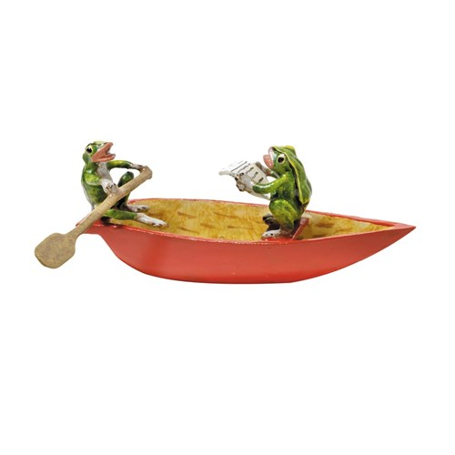 Austrian Bronze Two Frogs in Red Rowboat Figurine