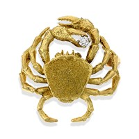 18k Gold Crab with Diamond Pin