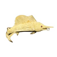 Gold Sailfish Pin Ruby Eyes & Diamond