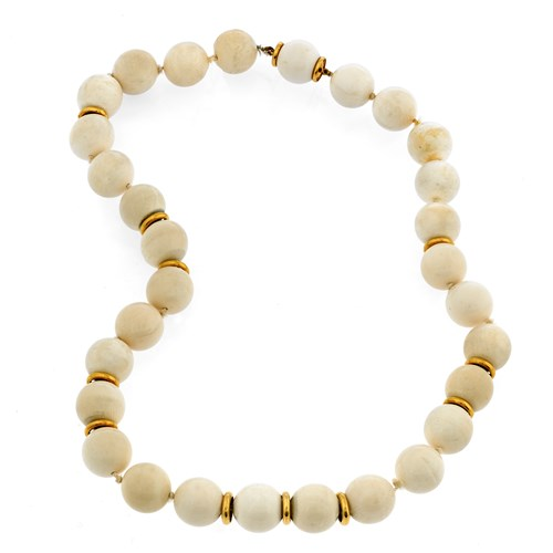 18k Yellow Gold Mammoth Tusk Necklace with Rondelle Beads