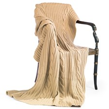 Cashmere Cable Throw, Camel