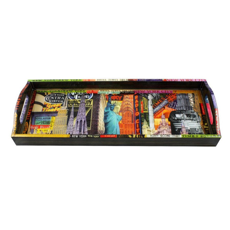 New York Bar Tray | Painted, Wooden & Decoupage Trays ...