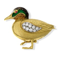 18k Gold Wigeon Pin with Diamonds