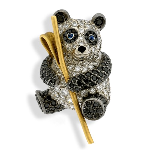 Black & White Diamond Panda Pin