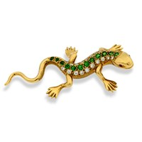 18k Gold Salamander Pin with Tsavorites, Diamonds & Ruby Eyes